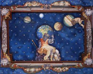 Sterrenhemel met Atlas en planeten. Het plafond is gemaakt voor een victoriaans poppenhuis. Het is een compilatie van meerdere fragmenten.