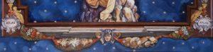 Detail van 'Sterrenhemel met Atlas en planeten'. Het plafond is gemaakt voor een victoriaans poppenhuis. Het is een compilatie van meerdere fragmenten.