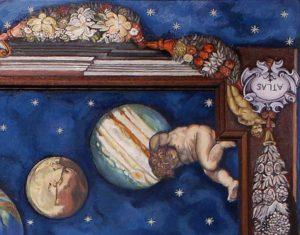 Plafondschilderingen van Diane Meyboom: Detail van 'Sterrenhemel met Atlas en planeten'. Het plafond is gemaakt voor een victoriaans poppenhuis. Het is een compilatie van meerdere fragmenten.