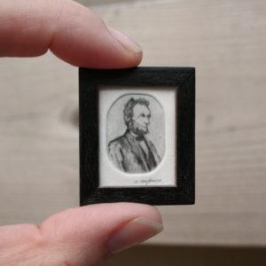 Miniatuur etsen van Diane Meyboom -Lincoln