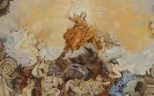 Plafondschilderingen van Diane Meyboom: Detail van een fragment van het beschilderde plafond van Pietro da Cortona te zien in Palazzo Barberini in Rome. In opdracht geschilderd voor een poppenhuis