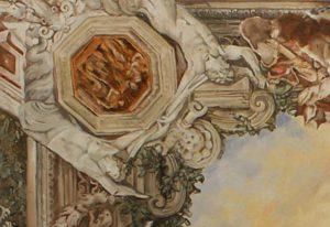 Plafondschilderingen van Diane Meyboom: een Detail van een fragment van het beschilderde plafond van Pietro da Cortona te zien in Palazzo Barberini in Rome. In opdracht geschilderd voor een poppenhuis