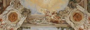 Detail van een fragment van het beschilderde plafond van Pietro da Cortona te zien in Palazzo Barberini in Rome. In opdracht geschilderd voor een poppenhuis