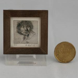 Miniatuur etsen van Diane Meyboom - portret rembrandt