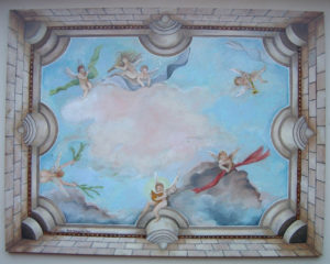 Plafondschilderingen van Diane Meyboom: De Stolp Engelen. Plafondschildering voor een Stolp poppenhuis