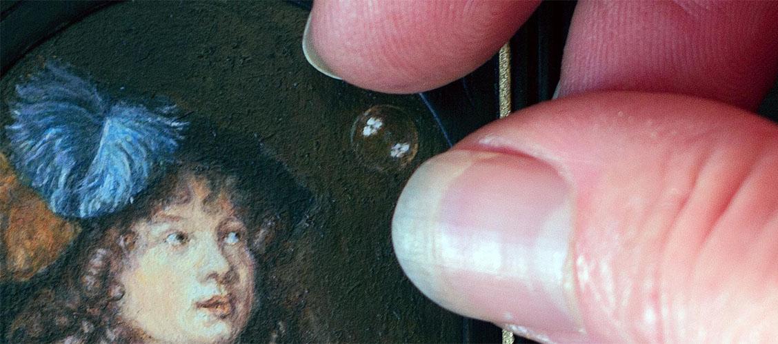 Caspar Netscher - bellenblazende jongen. Miniatuur olieverf schilderij door Diane meyboom