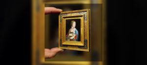 Leonardo da Vinci - The Lady With An Ermine Miniature oil painting by Diane Meyboom