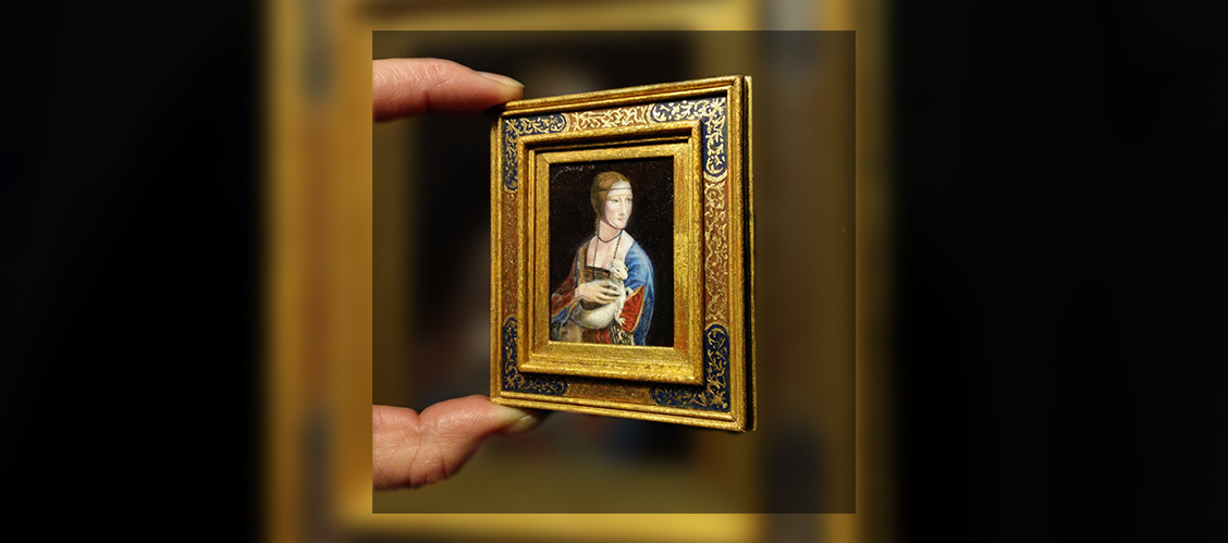 Leonardo da Vinci - The Lady With An Ermine Miniature oil painting by Diane Meyboom