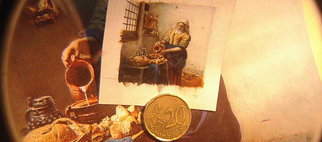 Het Melkmeisje van Vermeer door Diane Meyboom - miniatuur kunstschilderes