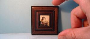 De kantwerkster van Vermeer. Miniatuur olieverf schilderij door Diane meyboom