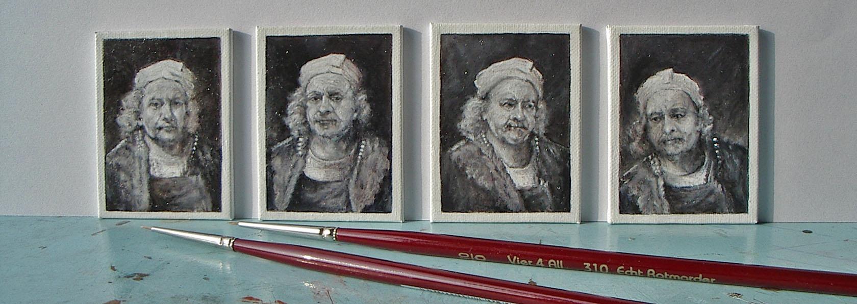 """De portretjes van Rembrandt, miniaturen van het gezicht van Rembrandt in verschillende emoties. Gemaakt voor de Expositie """"De nieuwe nachtwacht"""" in Slot Zeist"""
