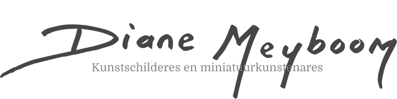 Miniatuur kunst schilderes Diane Meyboom maakt 1:12 miniaturen. Zij schildert met olieverf miniatuurkunst schilderijen op doek/canvas of houten paneel. Haar specialiteit zijn de grote meesters zoals Rembrandt van Rijn, Michelangelo, Vermeer, Hals, en vele anderen. Diane Meyboom maakt alles met de hand, ook de schilderslijsten die zo natuurlijk mogelijk worden nagemaakt van de orginelen. Diane werkt graag in opdracht en kan alles voor u in 1:12, of welk formaat u wilt, schilderen. Diane Meyboom maakt ook schildersaccessoires in miniatuur.
