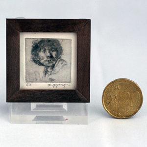 1:12 ets van een portret van Rembrand van Rijn. Droge naald etsen in het miniatuur door kunstschilderes Diane meyboom.