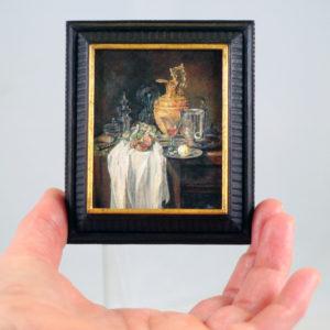 """Miniatuurschilderij van Willem Kalf's stilleven """"Lampetkan, vat en granaatappel"""" door Diane Meyboom"""