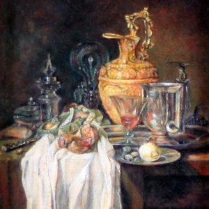"""Detail van het miniatuurschilderij van Willem Kalf's stilleven """"Lampetkan, vat en granaatappel"""" door Diane Meyboom"""