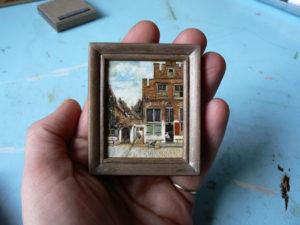 Miniatuurschilderij van Het straatje van Vermeer door Diane Meyboom