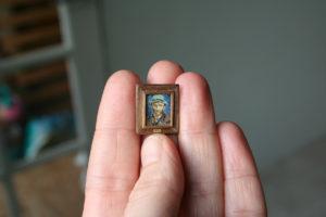 1 cm! Zelfportret Vincent van Gogh miniatuur schilderij door Diane Meyboom