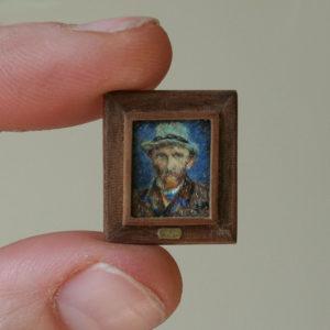 1 cm! Zelfportret Vincent van Gogh miniatuurschilderij door Diane Meyboom