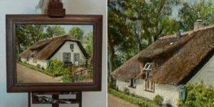 In opdracht gemaakt. Het Huisje van Lidy. Miniatuurschilderij van het huis.