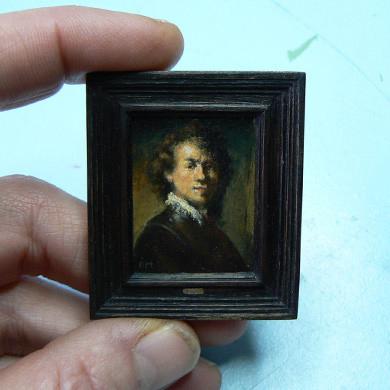 Zelfportret Rembrandt van Rijn miniatuur door Diane Meyboom. Geschilderd op houtpaneel