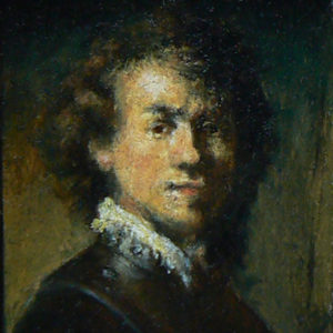 Detail van het zelfportret van Rembrandt van Rijn miniatuur door Diane Meyboom. Geschilderd op houtpaneel