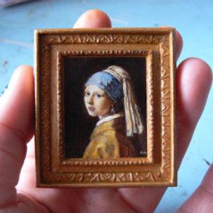 Miniatuur van Het meisje met de Parel van Vermeer door Diane Meyboom