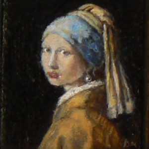 Detail van het miniatuur schilderij van het meisje met de parel van Vermeer.