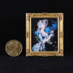 Miniatuur schilderij van Marie Antionette met een 24 karaat bladgoud lijst