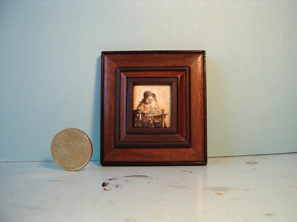 De Kantwerkster van Johannes Vermeer in miniatuur geschilderd door Diane Meyboom