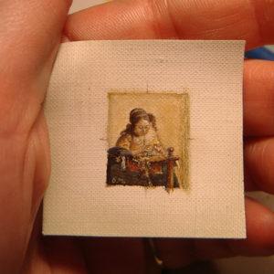 De Kantwerkster miniatuur zonder lijst, geschilderd door Diane Meyboom