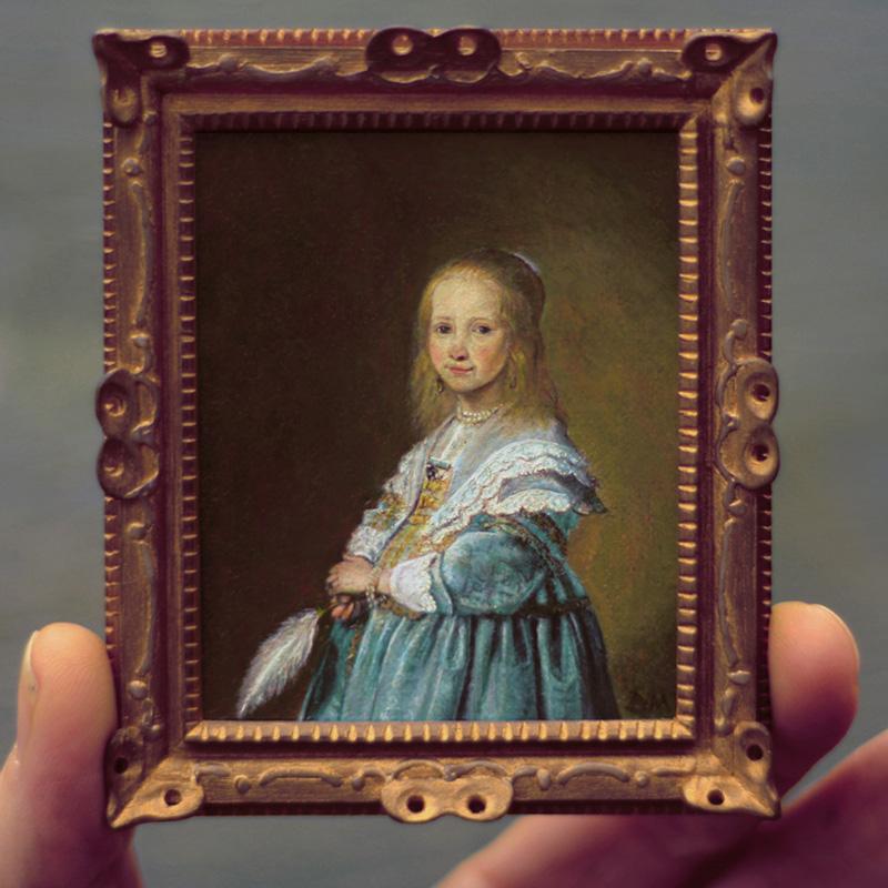 Miniatuur schilderij van het Meisje in blauw door Diane Meyboom. Origineel: Johannes Cornelisz. Verspronck