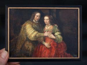 Het Joodse Bruidje, miniatuur schilderij door Diane Meyboom. Origineel van Rembrandt van Rijn. Hangt in het Rijksmuseum Amsterdam