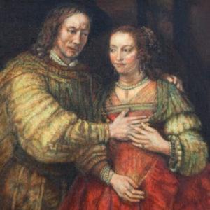 Detail van Het Joodse Bruidje, miniatuurschilderij door Diane Meyboom. Origineel van Rembrandt van Rijn. Hangt in het Rijksmuseum Amsterdam